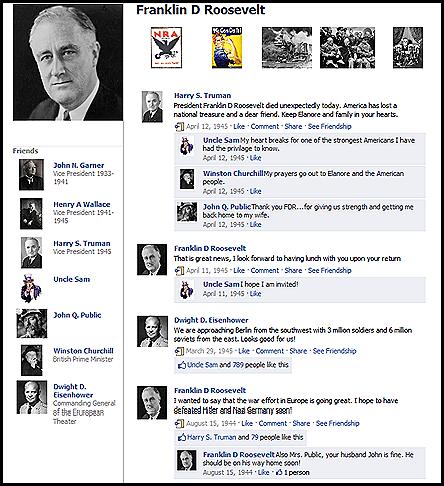 Franklin D Roosevelt Fake Facebook Profile - MyFakeWall